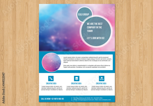 Single Page Flyer Layout With Blue Tabs 4 Buy This Stock Template