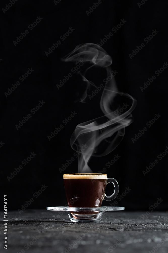 Steamy Coffee on Dark Background