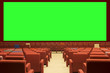 Leinwanddruck Bild - green cinema screen and red seat