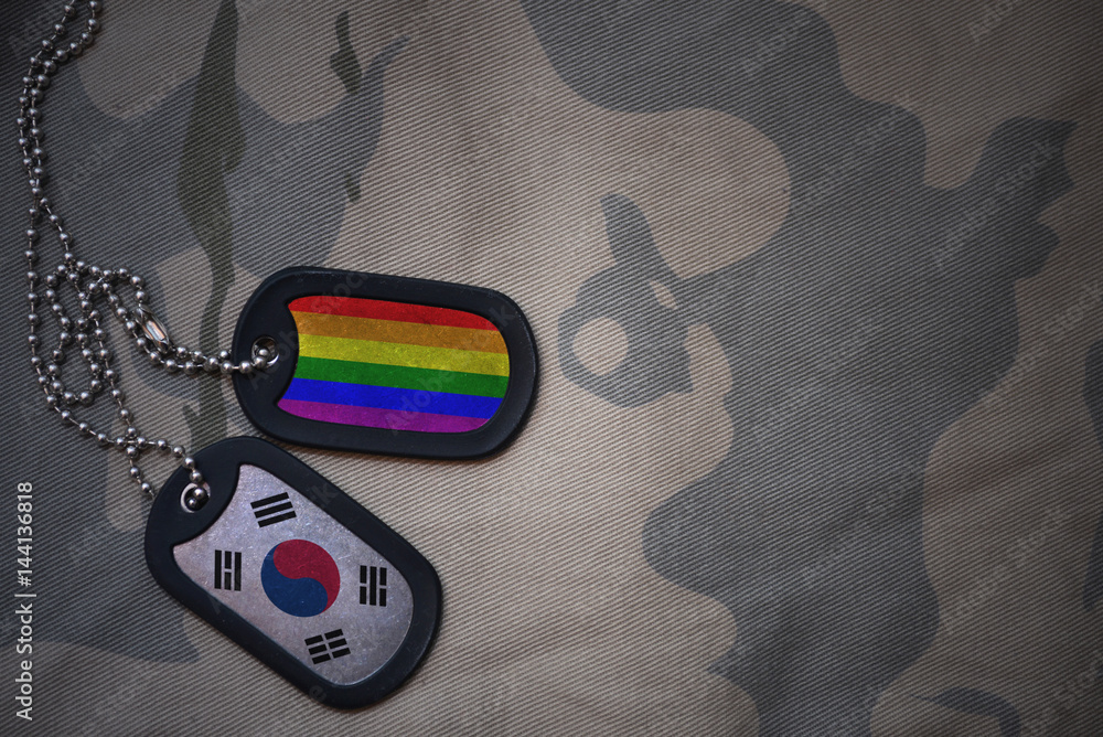 Stampe  army blank, dog tag with flag of south korea and gay rainbow flag on the khaki texture background