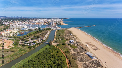 Aerial view of Vilamoura with coastline and docks, Algarve, Wallpaper Mural