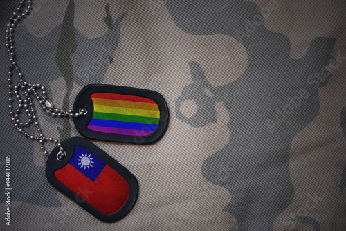 Stampe  army blank, dog tag with flag of taiwan and gay rainbow flag on the khaki texture background