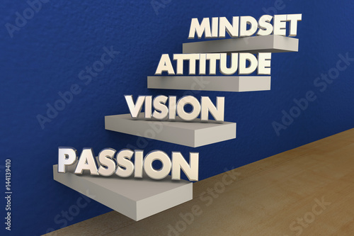 Fotografie, Obraz  Passion Vision Attitude Mindset Steps Stairs Words 3d Illustration