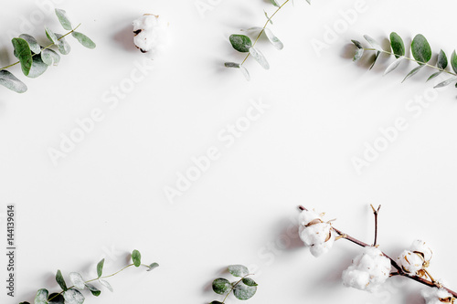Modern spring design with plants on white background top view mock-up