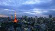 4K 東京タイムラプス 東京タワーと街並 トワイライトから夜景 愛宕ヒルズ 虎ノ門 パン