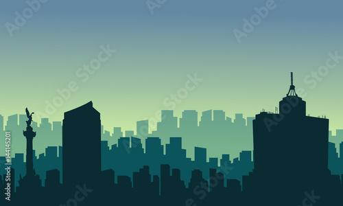 Foto op Plexiglas Grijs Scenery Mexico city skyline silhouettes