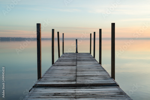 Empty Fishing Pier in Morning Canvas Print