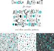 Cute kids alphabet design and set of varied seamless patterns. Vector.