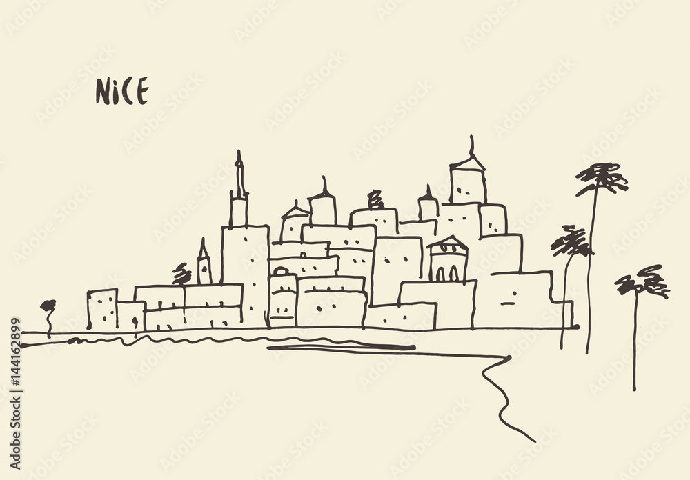 Sketch Nice view vector illustration hand drawn.