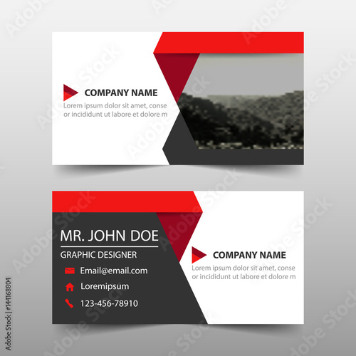 Obraz Red corporate business card, name card template ,horizontal simple clean layout design template , Business banner template for website - fototapety do salonu