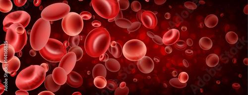 Fotografie, Obraz  3d red streaming blood cells banner.