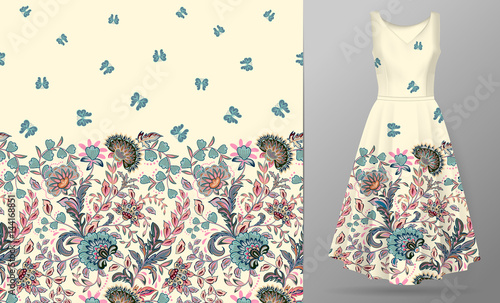 Poster Butterflies in Grunge Vector seamless pattern with pastel blue pink beige flowers and butterfly ornament on white background, hand drawn texture for clothes, bedclothes, invitation, card design etc. Women's dress mock up