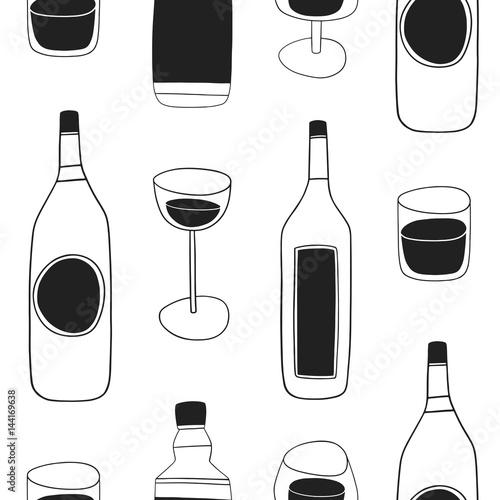 Fotografie, Obraz  Alcohol drinks seamless pattern