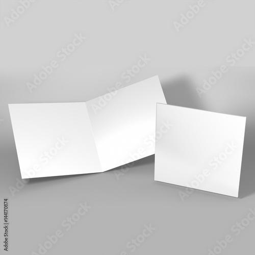 Bi Fold Brochure Template White Mock Up 3d Realistic Rendering