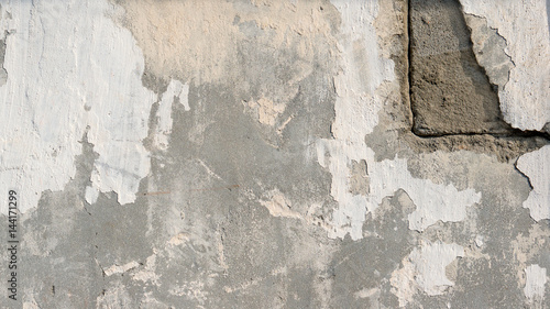 Poster Vieux mur texturé sale background of natural cement plaster on the wall grey plain textured with cracks in the upper right corner