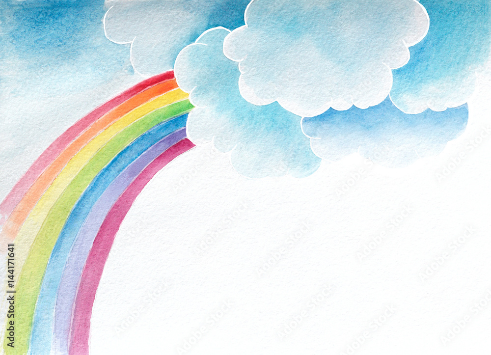 Fototapety, obrazy: watercolor background with clouds and rainbow