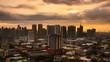 Timelapse of Sunset over Metro Manila transitioning to night, Philippines