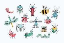 Funny Bug Set. Collection Happ...