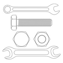 Industrial Tools - Wrenches, Bolt Screw. White Outline Icons