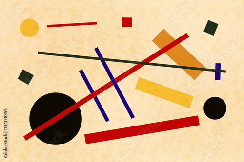 Fényképezés Abstract suprematism composition, horizontal flat illustration on old canvas