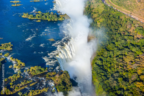 Bird eye view of the Victoria falls waterfall on Zambezi river - 144187878