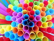 canvas print picture - Abstract background from end of multicoloured plastic drinking straws close up, as sign for heterogeneity or teamwork.  Selective focus.