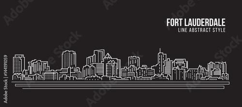 Cityscape Building Line art Vector Illustration design - Fort Lauderdale city Canvas-taulu