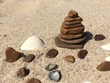 Zen stones on a sandy beach