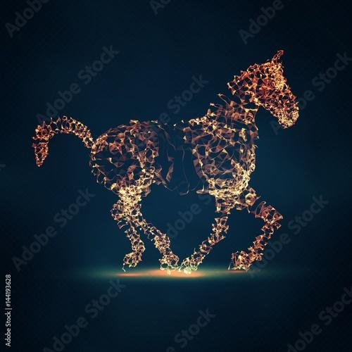 2014 Chiński Nowy Rok z kompozycji siatka streszczenie konia. Streszczenie wektor konia. Rok konia.