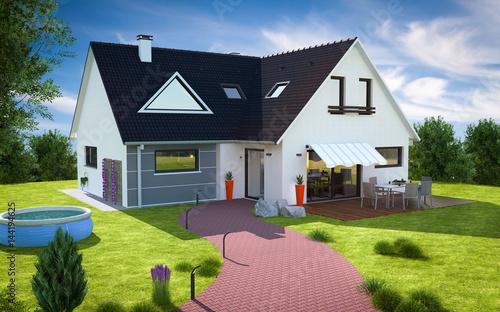 Belle maison moderne avec grand jardin et piscine - Buy this stock ...