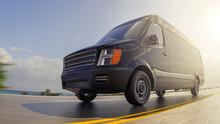 Black Cargo Van On Countryside Road At Sunny Day Motion Blurred Fisheye Lens 3d Illustration