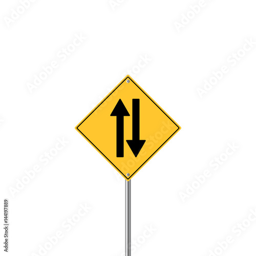 Road Sign Warning Two Way Traffic Tablou Canvas