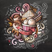 Ice Cream Cartoon Vector Doodle Watercolor Illustration