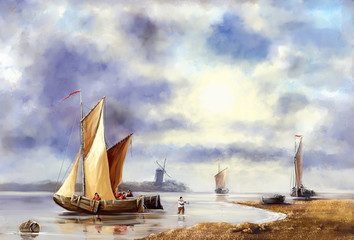 Plakat Сlassic oil paintings.Sea landscape.Fisherman and boat. Digital art.