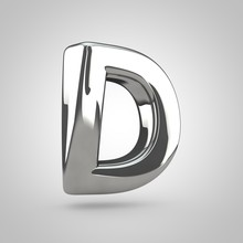 Silver Letter D Uppercase Isolated On White Background