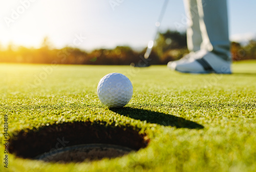 Professional golfer putting ball