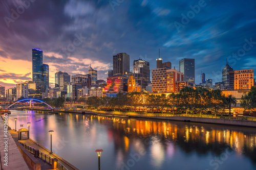 City of Melbourne. Cityscape image of Melbourne, Australia during dramatic sunset.