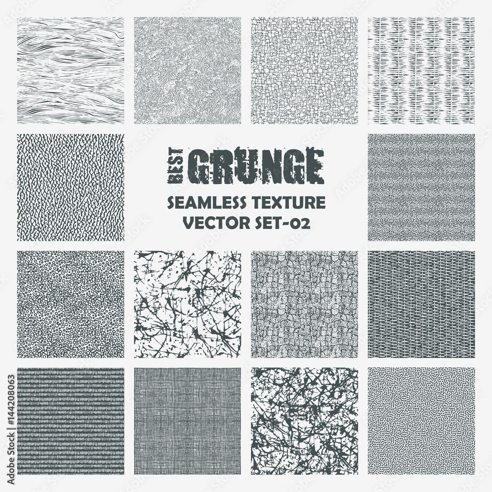 Fototapety, obrazy: Set of grange seamless patterns. Simple vector scratch textures with dots, strokes and doodles.