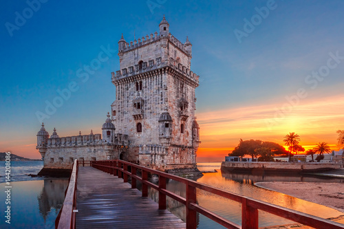 Belem Tower or Tower of St Vincent on the bank of the Tagus River at scenic suns Canvas Print