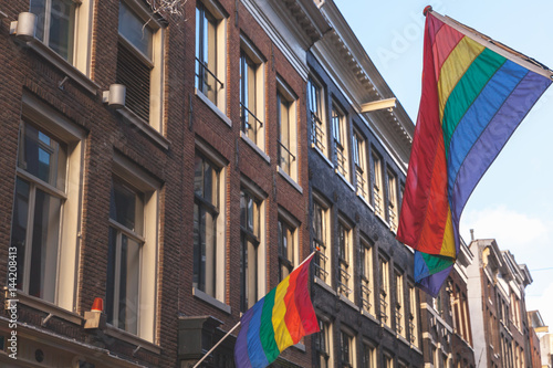 Photo  Rainbow flags representing LGBT pride, Amsterdam