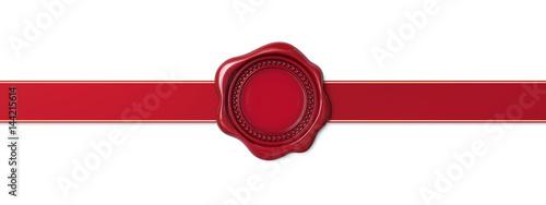 Foto Red wax seal with horizontal ribbon