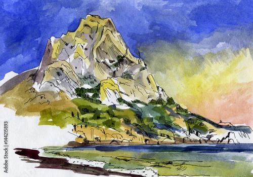 Mountain watercolor #144215893