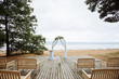 arch for wedding on the sea background