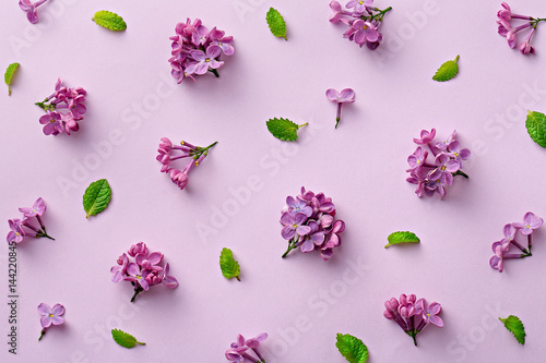 Floral pattern on the purple background Wallpaper Mural