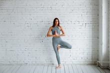 Young Woman Doing Yoga, Tree P...