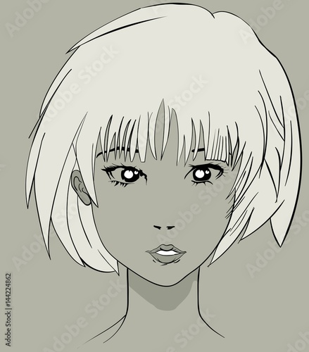Manga anime pretty character face Canvas Print