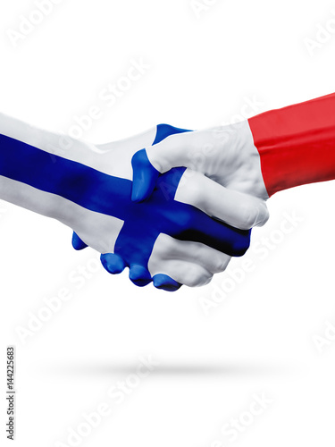 Photo Flags Finland, France countries, partnership friendship handshake concept