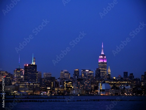 Midtown Manhattan at dusk viewed from Hoboken New Jersey