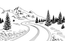 Mountain Road Graphic Black Wh...
