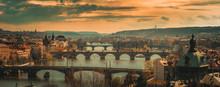 Panoramic View On Prague Bridges
